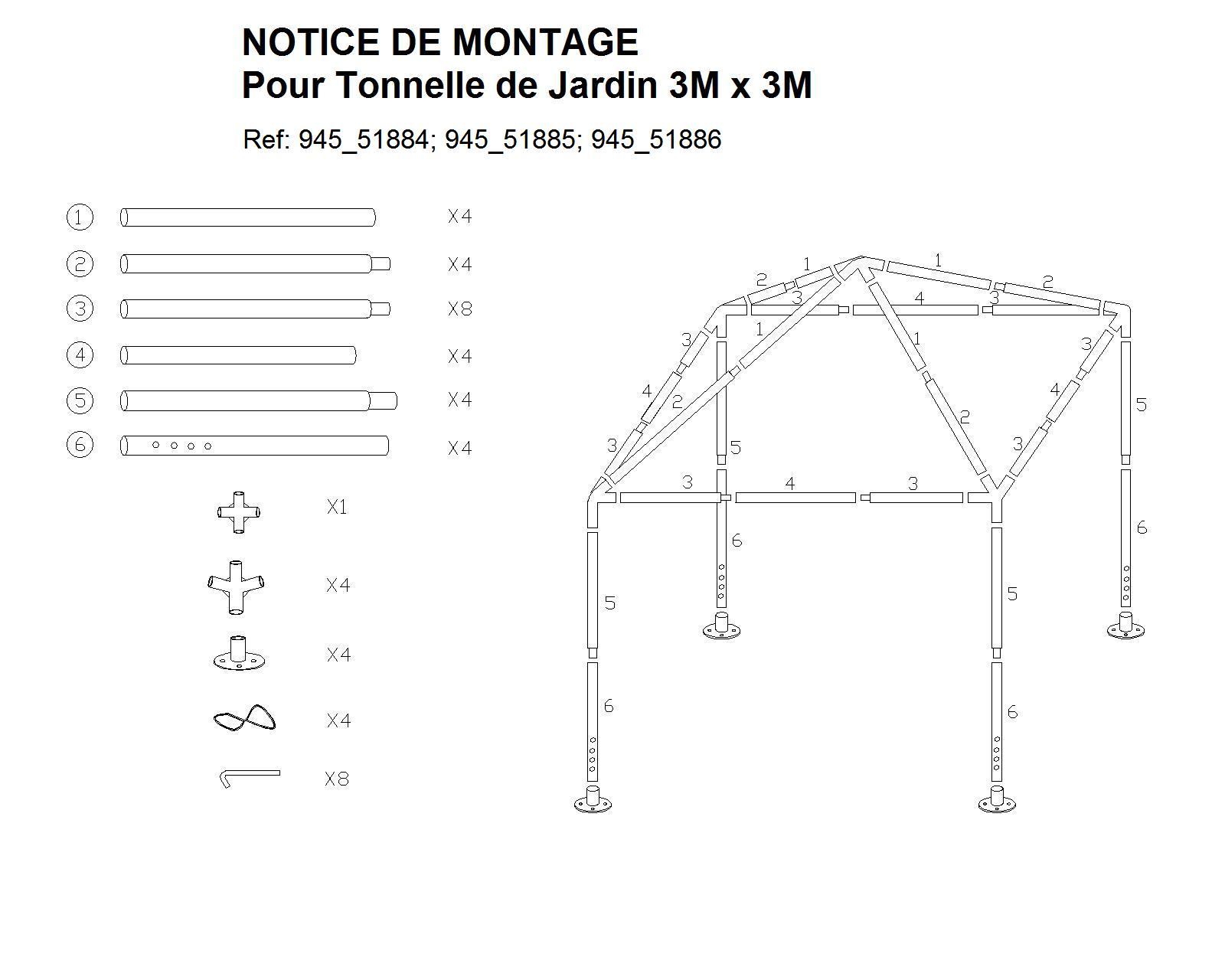 plan de montage tonnelle de jardin 9m sur 3m. Black Bedroom Furniture Sets. Home Design Ideas
