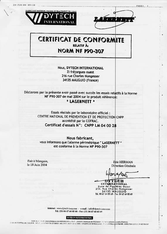 Barrière électronique LASERNETT 11043 11045 - Certificat De Conformité Maison