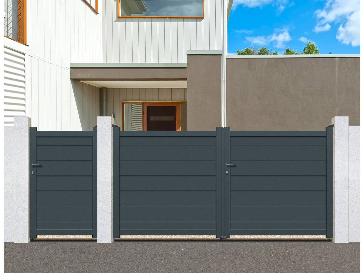 portail aluminium battant coruna 3m gris 95181. Black Bedroom Furniture Sets. Home Design Ideas