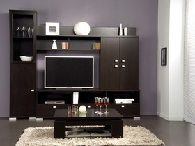 meuble tv roll mdf imitation weng 43411. Black Bedroom Furniture Sets. Home Design Ideas